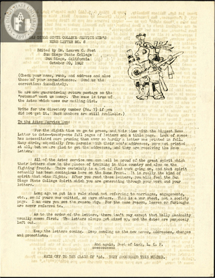 The Aztec News Letter, Number 8, October 20, 1942