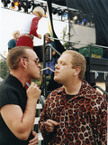 Bronski Beat lighting cigarettes backstage at San Diego Pride, 1995
