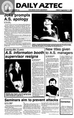 Daily Aztec: Friday 09/09/1983