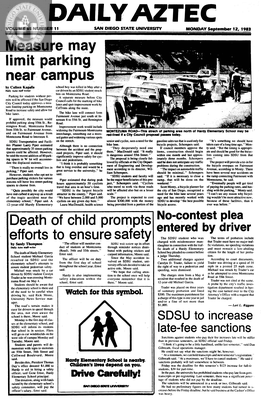 Daily Aztec: Monday 09/12/1983