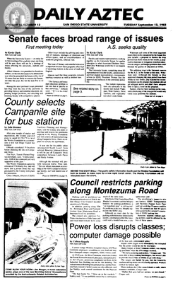 Daily Aztec: Tuesday 09/13/1983